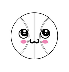 Basketball ball kawaii cartoon vector