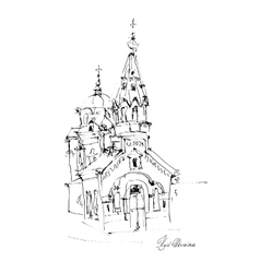 Black and white freehand sketch drawing of church vector