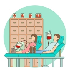 Blood transfusion in hospital concept flat style vector
