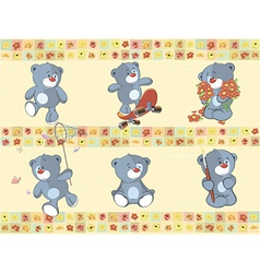 Border for wallpaper with stuffed bear cubs vector image vector image