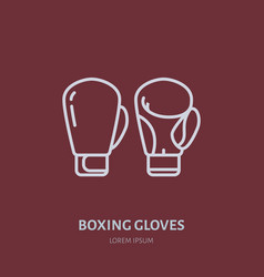 Boxing gloves line icon box club logo vector