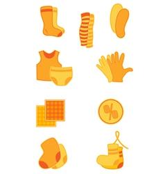 bright orange clothes and underwear icons vector image vector image