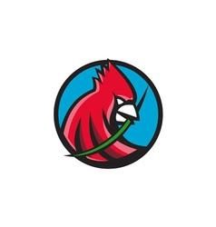 Cardinal head blade grass circle retro vector