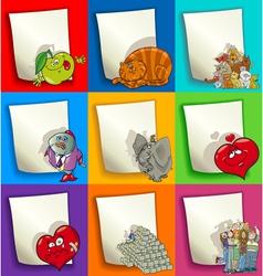 Cartoon designs and decorations set vector