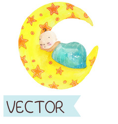 Cartoon of cute sleeping child vector