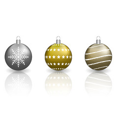 christmas baubles on white background vector image