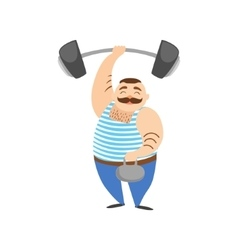 Circus strongman man holding two heavy weight vector