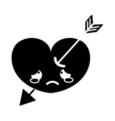 Contour crying heart with arrow kawaii character vector