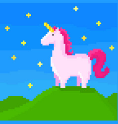 Cute unicorn stands on the hill vector