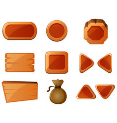 different shapes of wooden buttons vector image