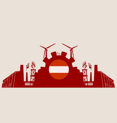 energy and power icons set with austria flag vector image vector image