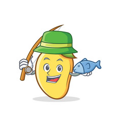 Fishing mango character cartoon mascot vector