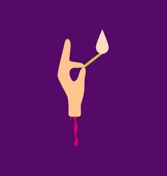 Flat icon on background halloween zombie arm vector
