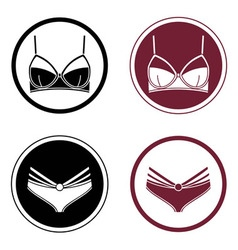 Four round logo with lingerie elements vector
