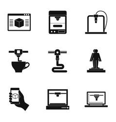 Futuristic 3d printer icon set simple style vector