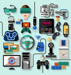 Gaming gadgets set vector