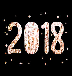 golden glitter foil text on black background 2018 vector image vector image
