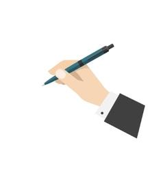 Hand holding ball biro pen vector