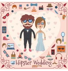 Hipster wedding card vector