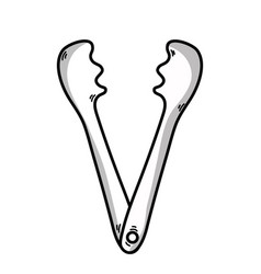 Line tongs kitchen utensil that used to cook vector