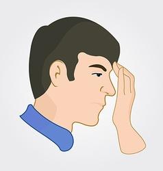 Man of european appearance feels headache and vector