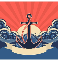 NAutical label with anchor and blue sea waves vector image