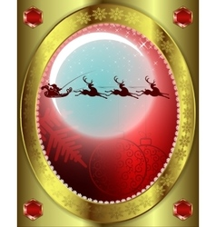 Santa Claus with a reindeer on background of moon vector image vector image