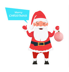 santa holding christmas tree decoration vector image vector image