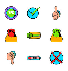 select button icons set cartoon style vector image