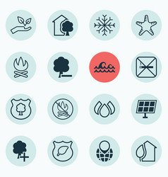 Set of 16 ecology icons includes pin earth snow vector