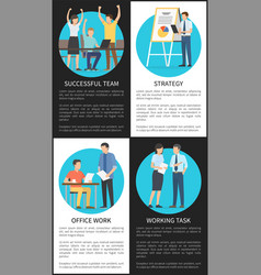 set of successful office work strategy banners vector image