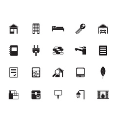 Silhouette Real Estate and building icons vector image