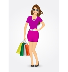 smiling girl with shopping bags vector image
