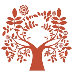 Spring tree red color vector image vector image