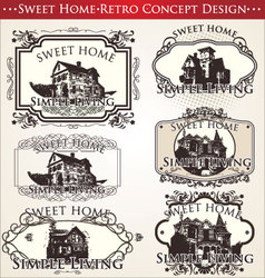 sweet home - retro concept design vector image
