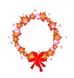 Valentine Wreath of Orange Maple Leaves and Hearts vector image
