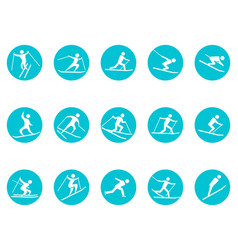winter sport round button icons set vector image