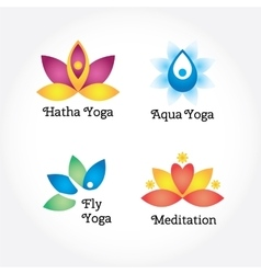 Yoga signs set hatha aqua fly meditation vector image