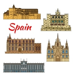 Travel landmark icons of spain vector