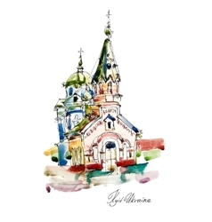 Freehand sketch watercolor painting of church in vector