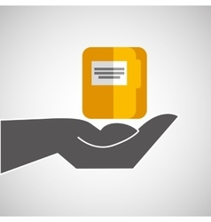 Hand holding file icon vector
