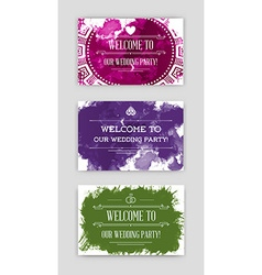 Set of bright watercolor invitations in vector