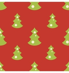 Seamless pattern with christmas green trees red vector