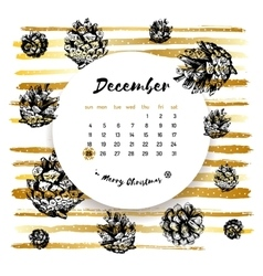 December 25 calendar Merry Christmas Card Hand vector image