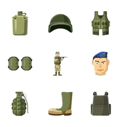 Equipment for war icons set cartoon style vector