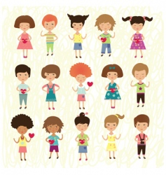 Valentine kids vector