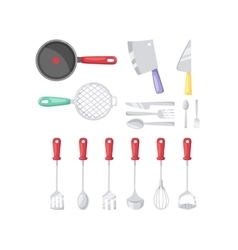 Kitchenware cutlery icons vector image
