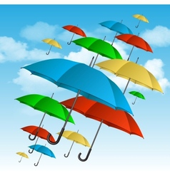 Colorful umbrellas flying high vector