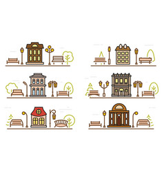 Cartoon drawing coloring facade and adjacent parks vector