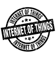 Internet of things round grunge black stamp vector